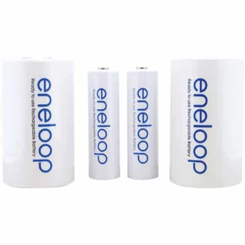 Eneloop D Spacer Packs With 2 AA Rechargeable Batteries By Sanyo