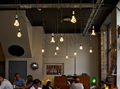 Plumen Bulbs Illuminate A Cafe